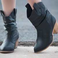 SK0114HU Slouchy Cowboy Ankle Bootie (Black) - Shoes 4 U Las Vegas
