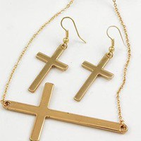 Cross Necklace and Earrings SET- Horizontal Gold