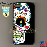 Iphone 4 case Iphone 4S Case Iphone 5 Case Sugar Skull, Sugarskull, Sugar Skull Candle Eyes