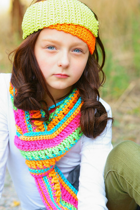 Colorful Teen Stock Image Image Of Lipstick Portrait: Colorful Neon Scarf For Girls Tween From Forever Andrea
