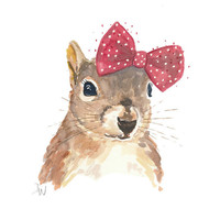 Squirrel Watercolour Illustration Original - Squirrel in a Bow, Nursery Art, 8x10 painting