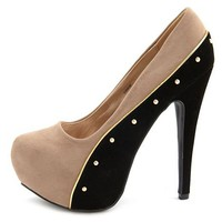 Studded Velvet Color Block Pump: Charlotte Russe