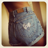 High Waist Denim Lace Heart Pocket Jean Shorts with Studs  ALL Sizes available