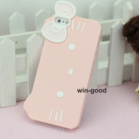 Style Lovely Cute 3D Hello kitty Soft Silicone Skin Case Cover For Iphone 5 5G