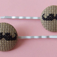 cross-stitch moustache hair grips by magasin | notonthehighstreet.com