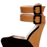 Monaco 2 Black and Tan Belted Color Block Wedges