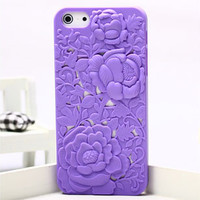 Silicone Peony Carved IPhone 5 Case on Luulla