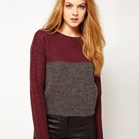 Vila Two Tone Textured Knit Jumper at asos.com
