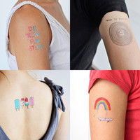FUN DESIGNER TEMPORARY TATTOOS - SET OF 4