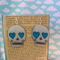 day of the dead, sugar skull, handmade plastic shrinky dink earrings, rockabilly, pin up, tattoo
