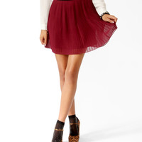 Pleated Contrast Waist Skirt