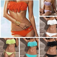 Sexy Lady Bikini Swimwear Strapless Tassel Fringe top bottom set Swimsuit SML