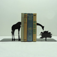 Giraffe Metal Art Bookends - Free USA Shipping