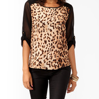 Leopard Contrast High-Low Top