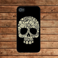iphone 4 case,iphone 4s case,iphone 4 cover--Floral Skull,Sugar skull,in plastic or silicone case