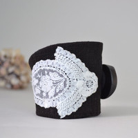 wrist cuff - black linen and vintage trims - victorian