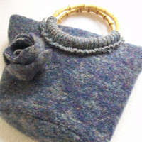 Eco Friendly Handbag - Purse - Repurposed Felted Wool - Upscaled Pure Silk - Flower Trimmed