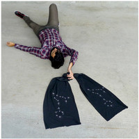 Pisces Rising - mens scarf - fall fashion - constellation print on American Apparel heather black jersey
