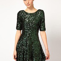 French Connection Sequin Skater Dress at asos.com