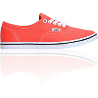 Vans Girls Authentic Lo Pro Hot Coral &amp; True White Shoe