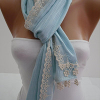 Women   Shawl / Scarf - Headband - Cowl with Lace Edge -Summer Trends