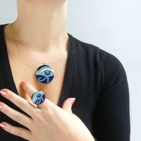 Egyptian Evil Eye Necklace Ring Set - Blue Egyptian Eye Ring - Cobalt Blue Evil Eye Necklace - Egyptian Pendant Necklace
