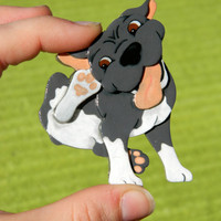 Goofy Pitbull Puppy Pin or Magnet
