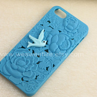iPhone 5 Case, iPhone Case 5, beautyful flower blue Hard Case for iPhone Case 5, with a baby blue cute bird