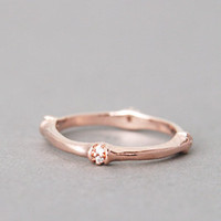 CZ BAMBOO RING ROSE GOLD BAMBOO JEWELRY ROSE GOLD RING BAND BAMBOO by Kellinsilver.com - Fashion Jewelry Shop as ETSY
