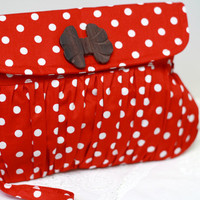 Red and white clutch polkadot , cotton clutch, retro purse