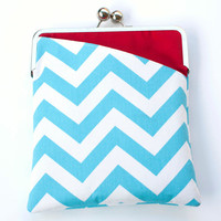 Chevron iPad Case or Sleeve with Kisslock Frame - iPad Case or Clutch - Notebook Clutch - Blue, White, and Red Chevron Print