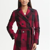 Buffalo plaid belted wool-blend coat | Banana Republic