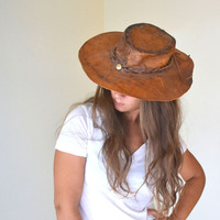 Antique Honey Brown Rustic Leather Cowboy Hat Small