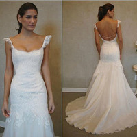 Vintage Lace Wedding Dress Bridal Gown Cap Sleeves Mermaid Wedding Dress Open Back Backless Dress