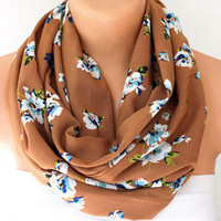 Infinity Scarf - Loop Scarf - Circle Scarf - Brown Scarf - Cotton scaf