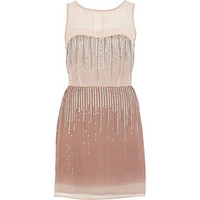 Beige embellished sequin ombre dress
