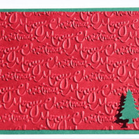 Christmas Cards- Embossed, Red, Green, Christmas tree