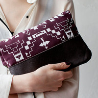 Tribal Pattern Printed  Leather Pouch Plum  No. ZP-101