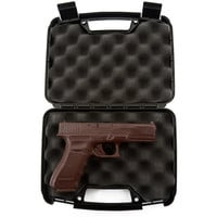 Full Size Hand-Crafted Solid Milk Chocolate Handgun with Real Gun Case