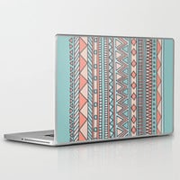 Tribal #4 (Coral/Aqua) Laptop & iPad Skin by Haleyivers | Society6
