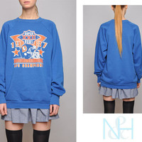 Vintage 80s Blue Unisex BRONCOS Sweatshirt with Superbowl Graphic