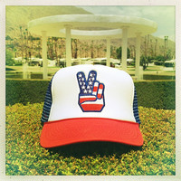 Vintage 70s American Flag PEACE Snap-back