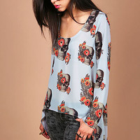 Skull Blossom Top - Hi Low Tops at Pinkice.com