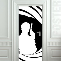 "Wall Door STICKER Bond James agent 007 spy skyfall bondiana red gun mural decole film poster 31x79""(80x200cm)"
