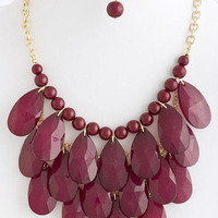 Cascade Falls Necklace in Oxblood -  $28.50 | Daily Chic Accessories | International Shipping