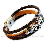 jewelry bangle leather bracelet cross bracelet women bracelet men bracelet cuff made of leather and metal wrist bracelet  SH-00000016