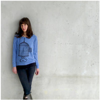 One That Got Away - eco-friendly womens pullover - birdcage screenprint on heather blue raglans - gift for her - sizes S-XL