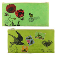 Vegan leather pouch with poppy and bird print -  LAVISHY Boutique