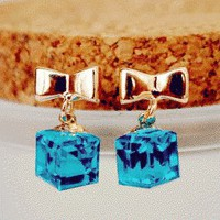 Blue Crystal Bow Gift Fashion Earrings | LilyFair Jewelry