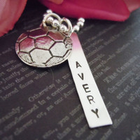 Soccer-Personalized Jewelry- Necklace-Hand Stamped-Name Necklace-Childens Necklace-Soccer Charm